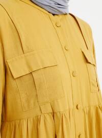 Mustard - Crew neck - Unlined - Cotton - Dress