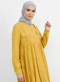 Mustard - Crew neck - Unlined - Cotton - Dress