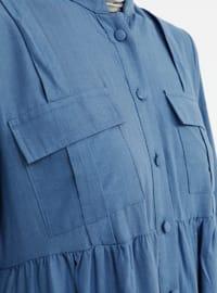 Indigo - Blue - Crew neck - Unlined - Cotton - Dress