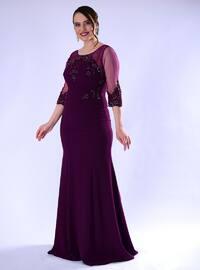 Plum - Fully Lined - Crew neck - Crepe - Muslim Plus Size Evening Dress