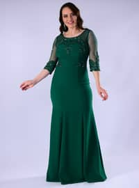 Green - Fully Lined - Crew neck - Crepe - Muslim Plus Size Evening Dress