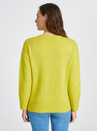 Printed - Crew neck - Green - Jumper