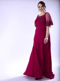 Fuchsia - Fully Lined - Crew neck - Crepe - Muslim Plus Size Evening Dress