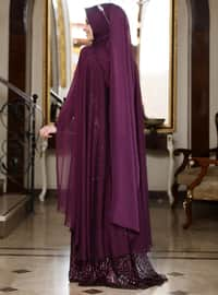 Plum - Multi - Fully Lined - Crew neck - Muslim Evening Dress