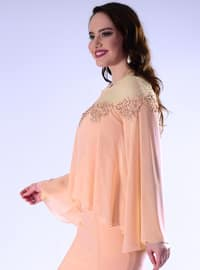 Salmon - Fully Lined - Crew neck - Crepe - Muslim Plus Size Evening Dress
