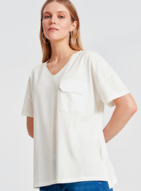 V neck Collar - White - T-Shirt