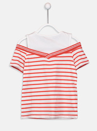Stripe - Crew neck - Red - Girls` T-Shirt