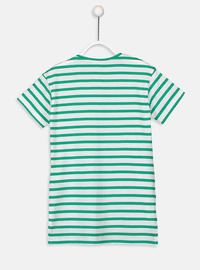 Stripe - Crew neck - Green - Girls` T-Shirt