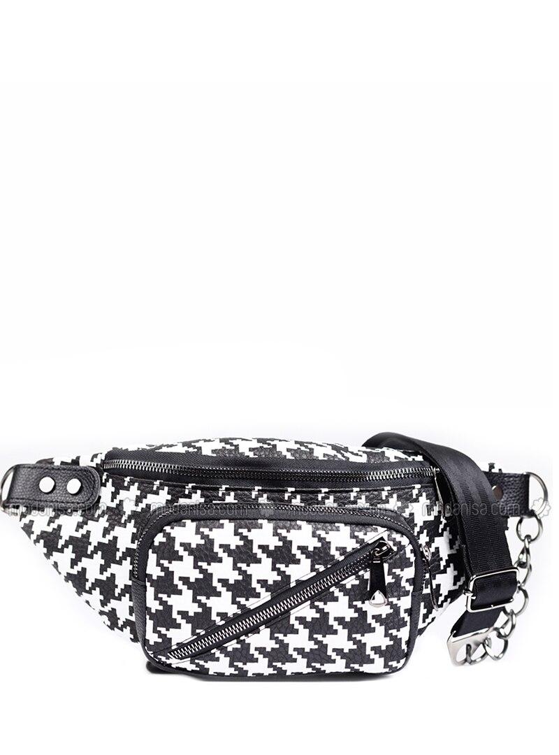 Black - White - Satchel - Bum Bag