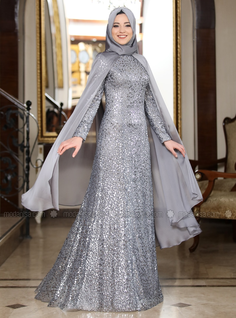 Silver tone - Multi - Fully Lined - Crew neck - Muslim Evening Dress