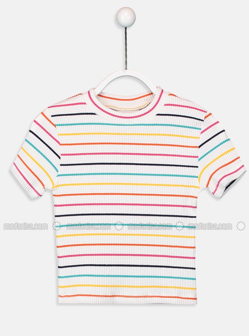 Stripe - Crew neck - Ecru - Girls` T-Shirt