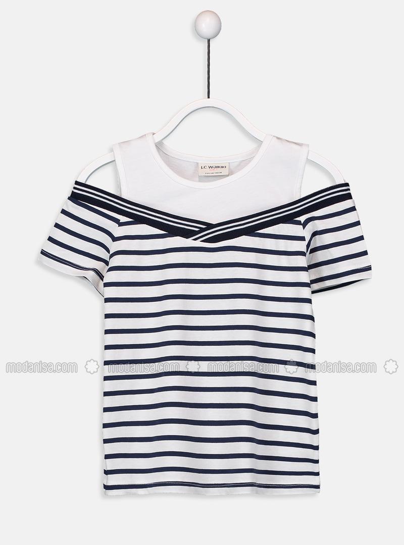 Stripe - Crew neck - Navy Blue - Girls` T-Shirt
