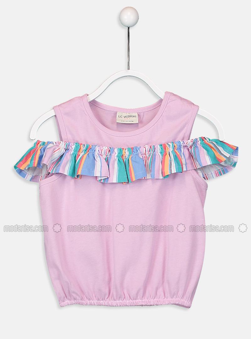 Crew neck - Lilac - Girls` T-Shirt