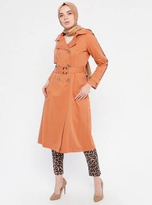 Terra Cotta - Leopard - Unlined - Shawl Collar - Cotton - Topcoat