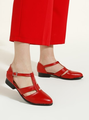 Red - Flat - Casual - Flat Shoes