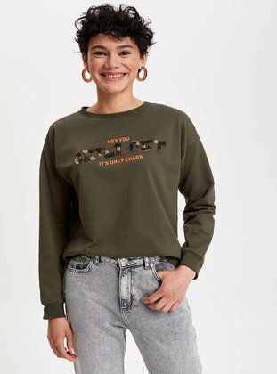 Khaki - Girls` Sweatshirt - DeFacto