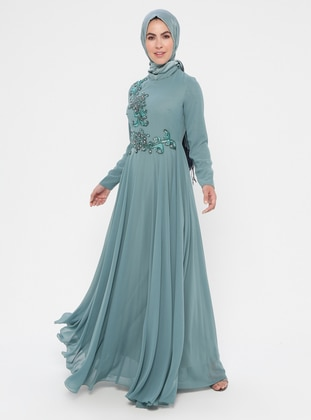 Green - Fully Lined - Crew neck - Cotton - Muslim Evening Dress