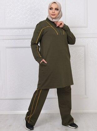 Khaki - Stripe - Combed Cotton - Plus Size Tracksuit - MODAGÜL