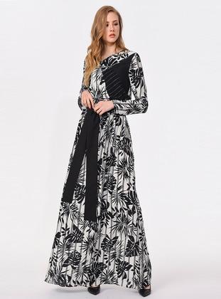 Black - White - Stripe - Viscose - Dress