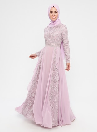 Dusty Rose - Multi - Fully Lined - Crew neck - Cotton - Muslim Evening Dress