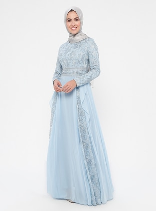 Blue - Multi - Fully Lined - Crew neck - Cotton - Muslim Evening Dress