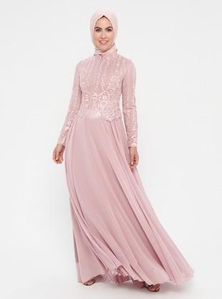 efc3f76b181 Powder - Fully Lined - Crew neck - Cotton - Muslim Evening Dress