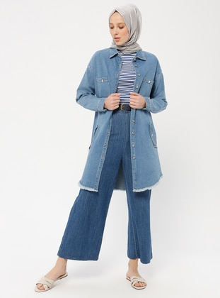 Blue - Unlined - Point Collar - Cotton - Denim - Topcoat