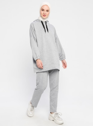 Gray - Cotton - Tracksuit Bottom
