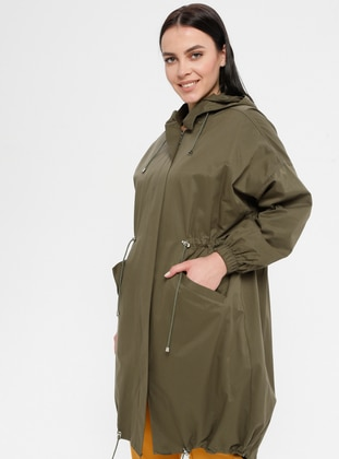 Khaki - Fully Lined - Cotton - Plus Size Trench coat