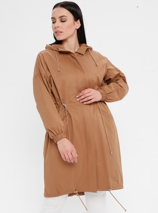 Camel - Mustard - Fully Lined - Cotton - Plus Size Trench coat