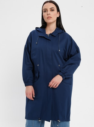 Navy Blue - Indigo - Fully Lined - Cotton - Plus Size Trench coat