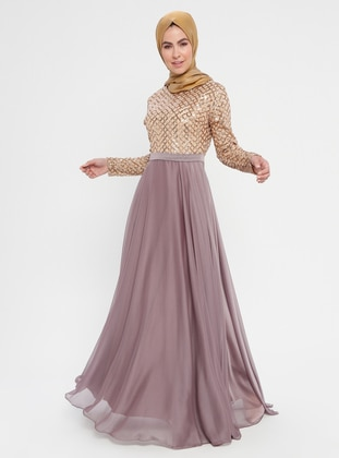 87f07ae6828 Dusty Rose - Fully Lined - Crew neck - Muslim Evening Dress