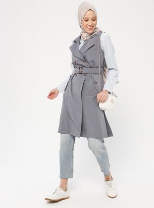 Gray - Indigo - Unlined - Shawl Collar - Cotton - Vest