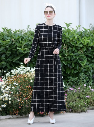 Black - Checkered - Crew neck - Unlined - Dress