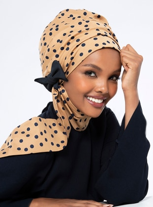 Nilda Turban - Dark Beige & Navy Polka Dot