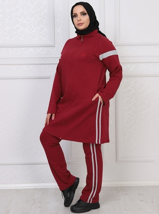 Maroon - Combed Cotton - Plus Size Tracksuit