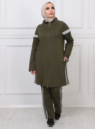 Khaki - Combed Cotton - Plus Size Tracksuit