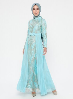 Mint - Multi - Fully Lined - Crew neck - Cotton - Muslim Evening Dress