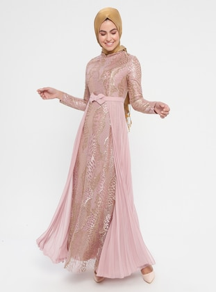 f475df1f910 Powder - Multi - Fully Lined - Crew neck - Cotton - Muslim Evening Dress
