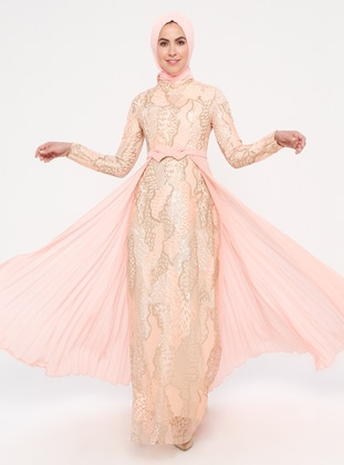 Salmon - Multi - Fully Lined - Crew neck - Cotton - Muslim Evening Dress