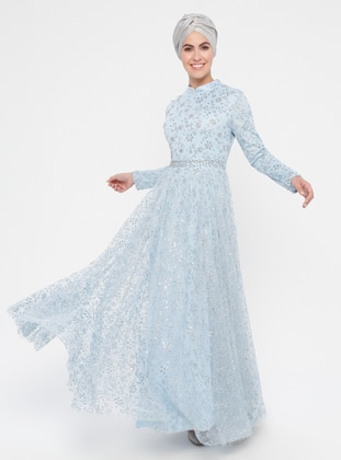 Baby Blue - Multi - Fully Lined - Crew neck - Cotton - Muslim Evening Dress