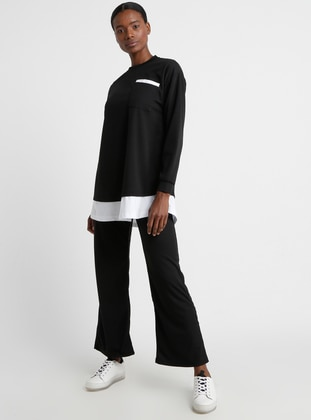 Black - Crew neck - Tracksuit Set