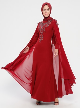 Maroon - Multi - Unlined - Crew neck - Cotton - Muslim Evening Dress