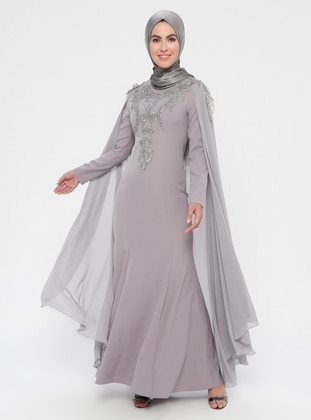 Gray - Multi - Unlined - Crew neck - Cotton - Muslim Evening Dress