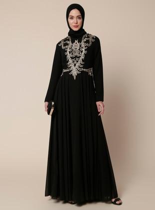 Black - Multi - Fully Lined - Crew neck - Cotton - Muslim Evening Dress