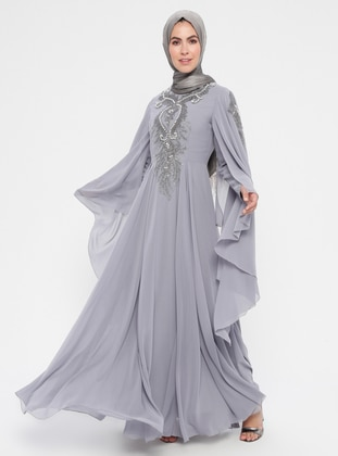 Gray - Multi - Fully Lined - Crew neck - Cotton - Muslim Evening Dress