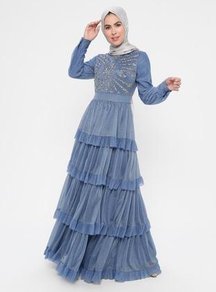 Indigo - Multi - Fully Lined - Crew neck - Cotton - Muslim Evening Dress