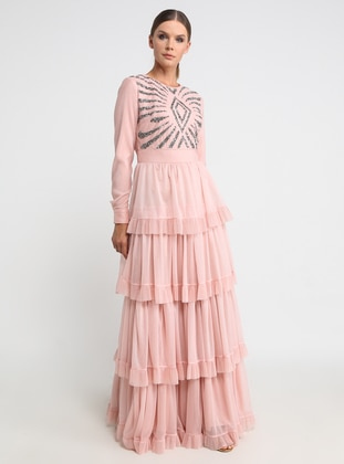 Salmon - Multi - Fully Lined - Crew neck - Cotton - Muslim Evening Dress