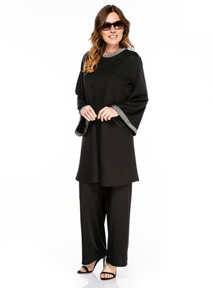 Black - Crew neck - Unlined - Plus Size Suit