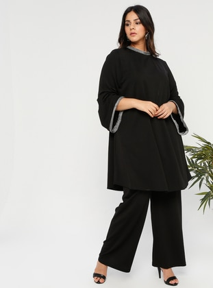 Black - Crew neck - Unlined - Plus Size Suit - Melisita